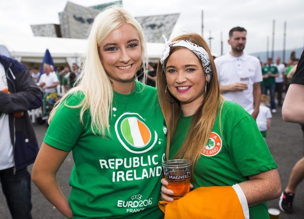 Football fans out at the Titanic Fanzone, Belfast, to see the Republic of Ireland play Belgium during the 2016 Euros. Saturday 18th June. Picture by Liam McBurney/RAZORPIX