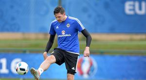 Kyle Lafferty during training at St Georges-de-Reneins