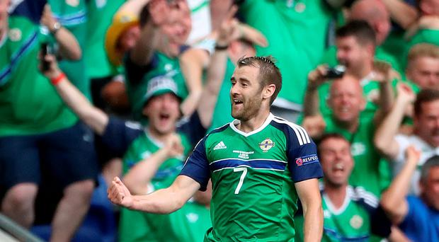 Brazilliant: Niall McGinn's goal sparked minor Mardi Gras in the ITV gantry where Iain Dowie was sitting