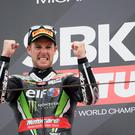 Grin bonus: World champion Jonathan Rea celebrates his second Superbike victory of the weekend in Italy