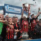 Crusaders celebrate winning back-to-back Danske Premiership titles. Photo Colm Lenaghan/Pacemaker