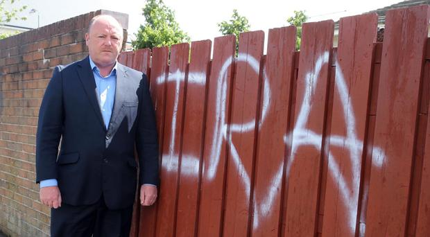 Frank McCoubrey has condemned the graffitti attack at Ballygomartin church in west Belfast.