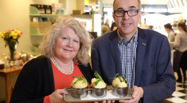 Michele Shirlow of Food NI with Angus Wilson, who is managing director of Wilson Country Potatoescould