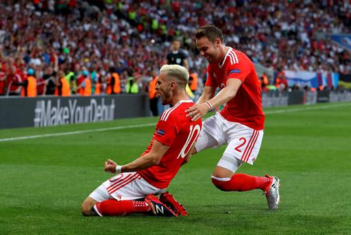 Wales' (l-r) Aaron Ramsey and Chris Gunter during the UEFA Euro 2016, Group B match at Stadium Municipal, Toulouse. PRESS ASSOCIATION Photo. Picture date: Monday June 20, 2016. See PA story SOCCER Wales. Photo credit should read: Martin Rickett/PA Wire. RESTRICTIONS: Use subject to restrictions. Editorial use only. Book and magazine sales permitted providing not solely devoted to any one team/player/match. No commercial use. Call +44 (0)1158 447447 for further information.