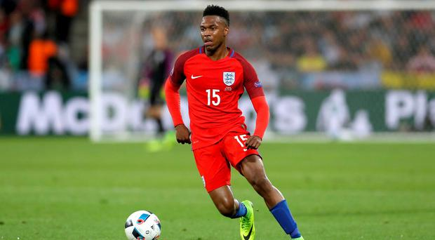 England's Daniel Sturridge in action during the UEFA Euro 2016, Group B match at the Stade Geoffroy Guichard, Saint-Etienne. PRESS ASSOCIATION Photo. Picture date: Monday June 20, 2016. See PA story SOCCER England. Photo credit should read: Owen Humphreys/PA Wire. RESTRICTIONS: Use subject to restrictions. Editorial use only. Book and magazine sales permitted providing not solely devoted to any one team/player/match. No commercial use. Call +44 (0)1158 447447 for further information.