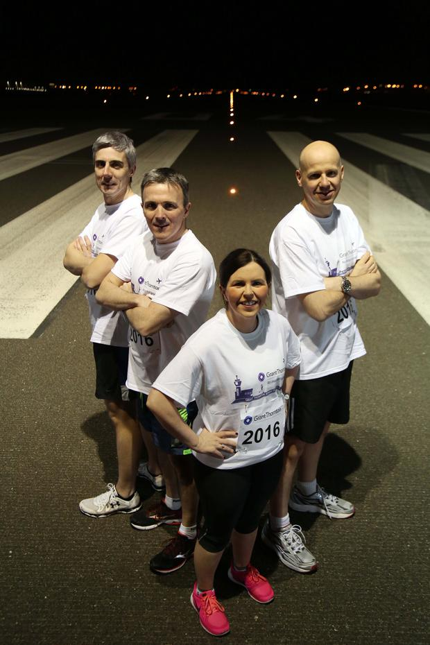 Richard Gillan, Managing Partner at Grant Thornton (far right) with Partners (from left) Peter Legge, Neal Taylor, Louise Kelly in training for this year's Grant Thornton Runway Run