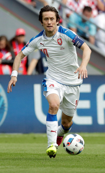 Czech Republic's Tomas Rosicky has been ruled out for the rest of the tournament due to an injury