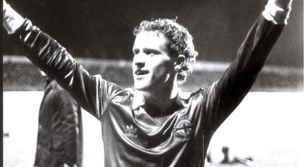 Memorable night: Ian Stewart salutes the Windsor Park crowd after scoring Northern Ireland's winning goal against West Germany in 1982