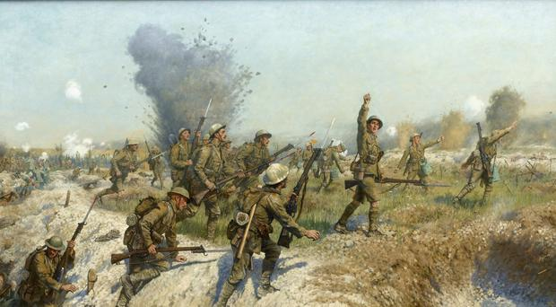 Frank Thornely depicted in the famous Somme painting in Belfast City Hall