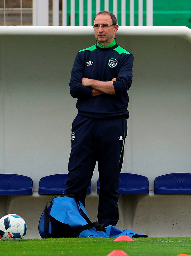 Raring to go: Republic boss Martin O'Neill oversees training in Versailles yesterday