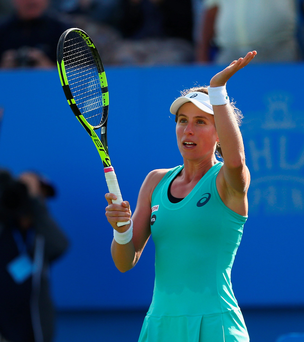 On the up: Johanna Konta celebrates victory over Lesia Tsurenko at Eastbourne yesterday