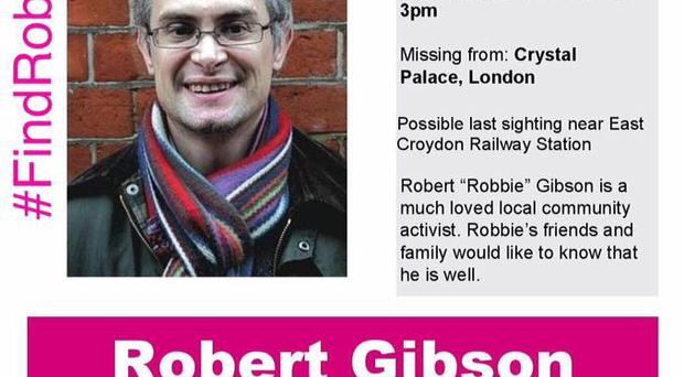 Latest missing poster for Northern Ireland born Robert Gibson who has gone missing in London