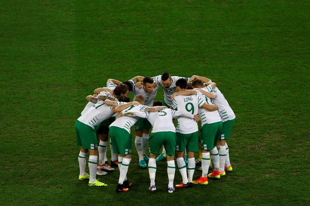 Ireland soccer players gather ahead of the Euro 2016 Group E soccer match between Italy and Ireland at the Pierre Mauroy stadium in Villeneuve dAscq, near Lille, France, Wednesday, June 22, 2016. (AP Photo/Darko Vojinovic)