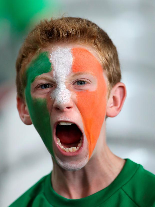 Republic of Ireland fan Rory, from Cork, during the Euro 2016, Group E match at the Stade Pierre Mauroy, Lille. PRESS ASSOCIATION Photo. Picture date: Wednesday June 22, 2016. See PA story SOCCER Republic. Photo credit should read: Chris Radburn/PA Wire. RESTRICTIONS: Use subject to restrictions. Editorial use only. Book and magazine sales permitted providing not solely devoted to any one team/player/match. No commercial use. Call +44 (0)1158 447447 for further information.
