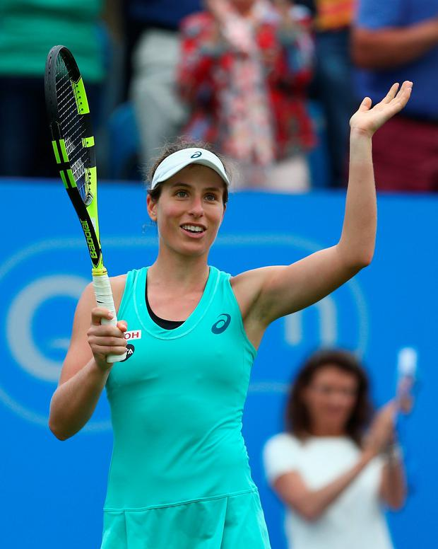 Fan-tastic: Johanna Konta salutes the crowd after victory over Petra Kvitova yesterday at Eastbourne