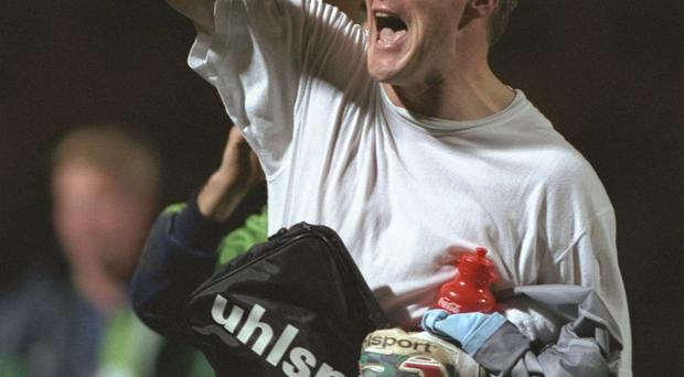 Golden moment: Tommy Wright after his 1996 heroics in Nuremberg