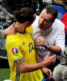 Respect: Zlatan Ibrahimovic with Belgium coach Marc Wilmots