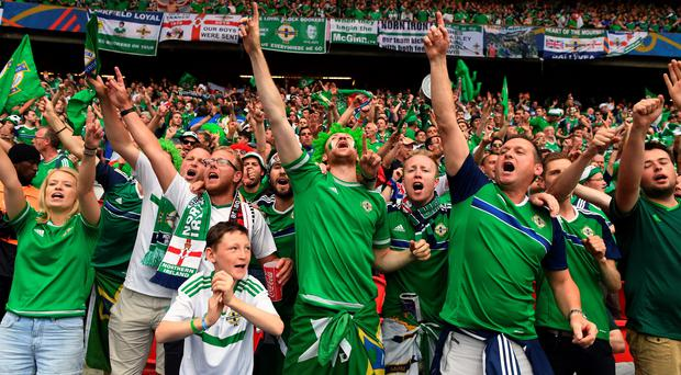 Northern Ireland fans in fine voice during their Group C match against Germany in Paris