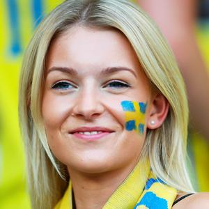 NICE, FRANCE - JUNE 22: A Sweden fan enjoys the build up to the UEFA EURO 2016 Group E match between Sweden and Belgium at Allianz Riviera Stadium on June 22, 2016 in Nice, France. (Photo by Lars Baron/Getty Images)