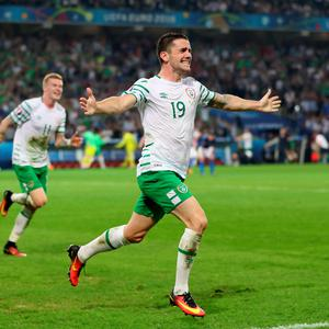 "File photo dated 22-06-2016 of Republic of Ireland's Robbie Brady celebrates scoring his side's first goal of the game PRESS ASSOCIATION Photo. Issue date: Thursday June 23, 2016. Robbie Brady admitted his head was ""all over the place"" after his goal took the Republic of Ireland into the Euro 2016 knockout stage with a dream victory over Italy. See PA story SOCCER Republic. Photo credit should read Chris Radburn/PA Wire."