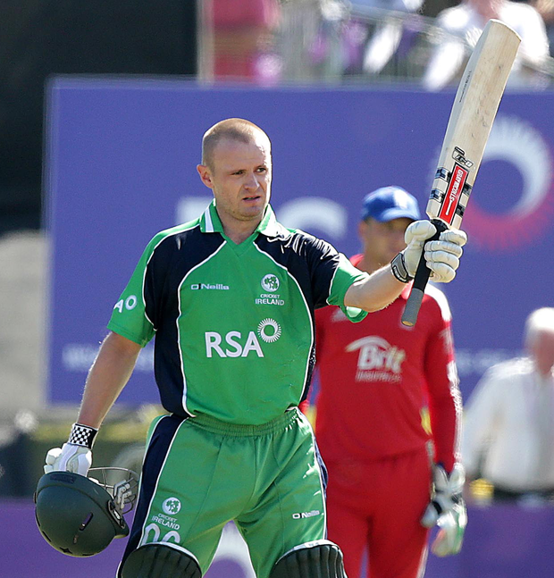 New century: Ireland captain William Porterfield celebrates after making a century against England at Malahide back in 2013