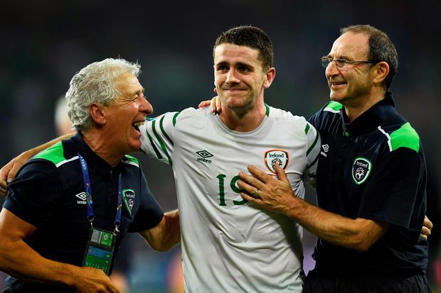 Carry on Ireland: Robbie Brady and Martin O'Neill's celebrations are rudely interrupted in Lille by the surprise appearance of Sid James