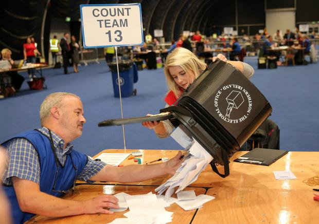 The first box of votes on the EU referendum is opened at the Titanic count centre last night