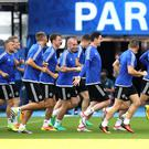 Press Eye - Belfast - Northern Ireland - 24th June 2016 - Photo by William Cherry Northern Ireland players during Friday nights training session at the Parc des Princes ahead of their game against Wales in the last 16 of the Euro 2016 tournament.