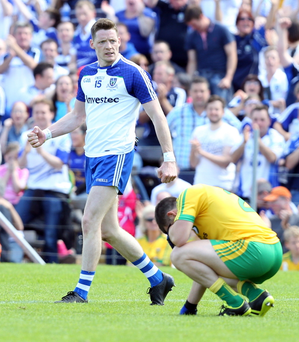 Walk this way: Monaghan's Conor McManus celebrates winning the 2015 Ulster final against Donegal
