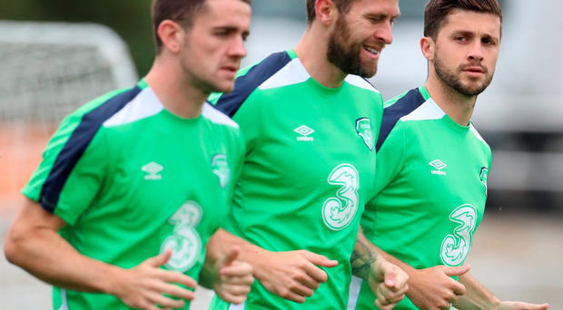 Making history: Republic of Ireland's Shane Long (right) with team-mates Daryl Murphy (centre) and Robbie Brady