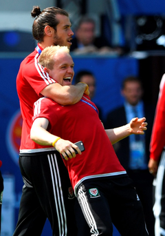 Wale of a time: Wales' Gareth Bale (l) and Jonny Williams share a joke during Wales' Open Session