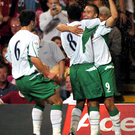 Turn of events: David Healy celebrates putting Northern Ireland 2-0 up in Wales in 2004
