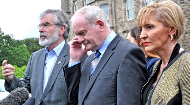 Senior Sinn Fein leaders Gerry Adams, Martin McGuinness and Martina Anderson have called for a border poll