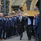 The funeral service of Northern Ireland Fan Darren Rodgers who died following a fall in France earlier this month. The service takes place at St Patricks Church in Ballymena ahead of Northern Ireland's Euro clash with Wales. ( Photo by Kevin Scott / Presseye)