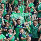 Northern Ireland's fans at todays game against Wales in the last 16 of the Euro 2016 tournament at the Parc des Princes, Paris. Press Eye - Belfast - Northern Ireland - 25th June 2016 - Photo by William Cherry