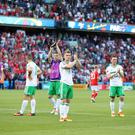 Press Eye - Belfast - Northern Ireland - 25th June 2016 - Photo by William Cherry Northern Ireland players are dejected at the final whistle after being defeated by Wales 1-0 in Saturday evenings last 16 of the Euro 2016 tournament at the Parc des Princes, Paris.