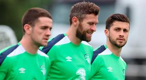 Republic of Ireland's Shane Long (right) with team-mates Daryl Murphy (centre) and Robbie Brady during a training session at the Stade de Montbauron, Versailles.