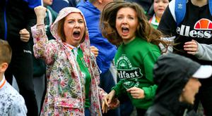 Fanzone in Belfast erupts as Republic of Ireland score against France. Picture by Kevin Scott, Presseye.