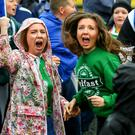 Picture - Kevin Scott / Presseye Belfast, UK - February 26 2016. Fans gather at the Ireland fanzone on Boucher road in Belfast as they take on France in the Euro 2016 final 16 game. ( Photo by Kevin Scott / Presseye)