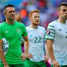 Republic of Ireland's Robbie Keane (left) and Republic of Ireland's Seamus Coleman look dejected after the final whistle during the round of 16 match at the Stade de Lyon, Lyon. Chris Radburn/PA Wire.