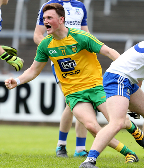Get in: Niall O'Donnell celebrates Donegal's third goal in minor semi
