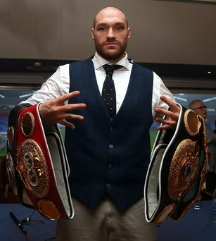 Called off: Tyson Fury had been due to defend his world heavyweight title on Saturday week but pulled out three days ago claiming he was injured