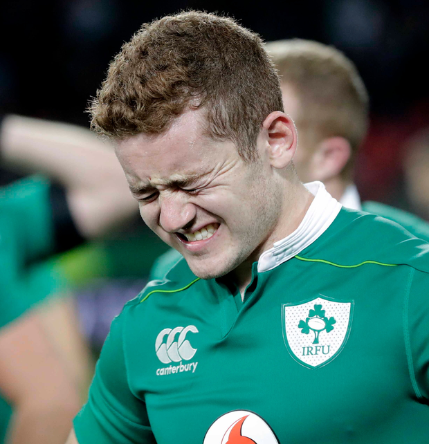 Painful defeat: Paddy Jackson's feeling of anguish are clear to see after Ireland's loss to South Africa