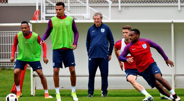 Watchful eye: England manager Roy Hodgson oversees training ahead of his side's potentially tricky Round of 16 clash against Iceland in Nice