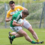 Tight tussle: Antrim's Kevin Niblock and Limerick's Johnny McCarthy