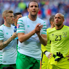 Applause all round: John O'Shea acknowledges the Republic of Ireland fans after exiting the competition following a gutsy display against France