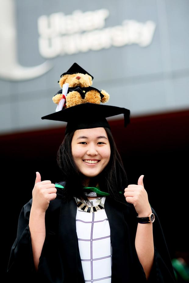Graduating from Ulster University today with a degree in Geography Interdevelopment is Yanru Chang from Singapore. Pic By Paul Moane/ Aurora PA