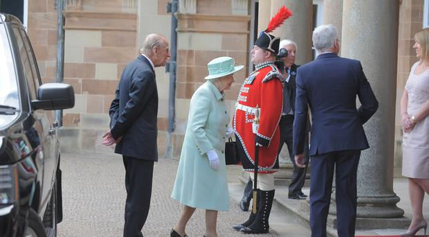 Her Majesty the Queen and the Duke of Edinburgh arrive at Hillsborough Castle today. Photo by Aaron McCracken/Harrisons