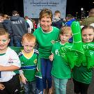 Northern Ireland fans Ethan Bothwell, Mackenzie Alexander, Granny Julie McCrory, Brooke Bothwell, Darla McCrory at the Titanic Fanzone stage ahead the Northern Ireland team homecoming to Belfast from the 2016 Euro Championship in France. Pic Liam McBurney/PA Wire