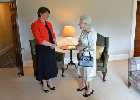 Her Majesty the Queen meets Northern Ireland First Minister Arlene Foster at Hillsborough Castle. Photo by Aaron McCracken/Harrisons